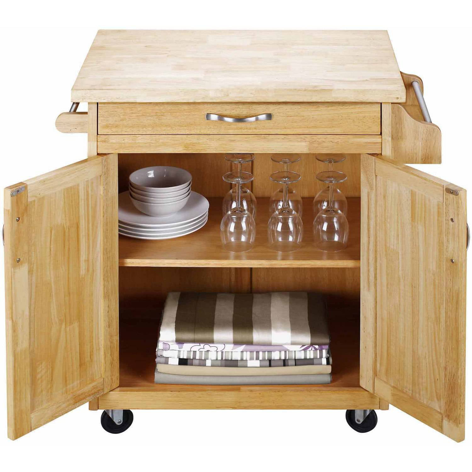 Mainstays Kitchen Island Cart With Drawer And Storage Shelves White Walmart Com Walmart Com