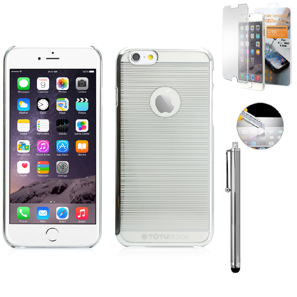 "Ultra Thin Slim Transparent Crystal Clear Back Hard PC Bumper Frame Case Cover Skin for Apple 4.7"" iPhone 6 with Free Tempered Glass Screen Guard - Silver"