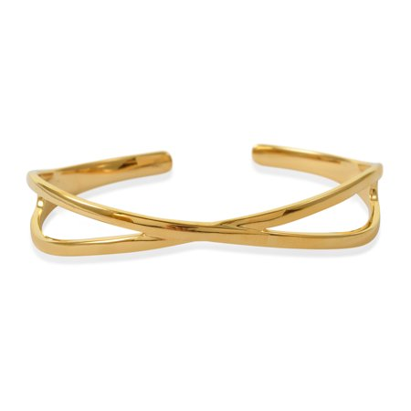 925 Sterling Silver Vermeil Yellow Gold Plated Bangle Cuff Bracelet Jewelry for Women Size 7.25