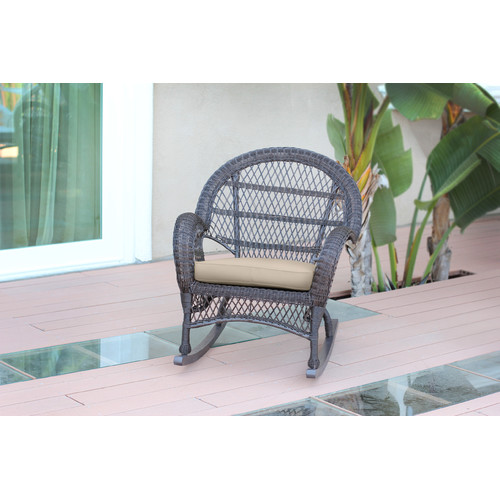 Jeco Inc. Wicker Rocker Chair with Cushions (Set of 4)
