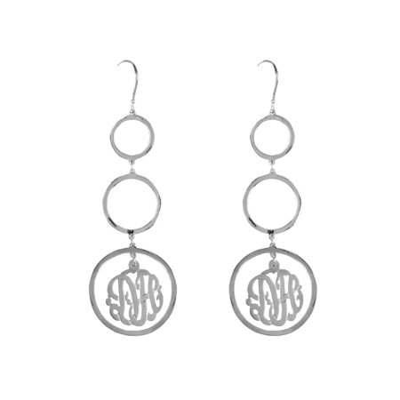 8feeca960 Heights Jewelers - Personalized Monogram Earrings in 24K Gold-Plated Sterling  Silver or Sterling Silver - Walmart.com