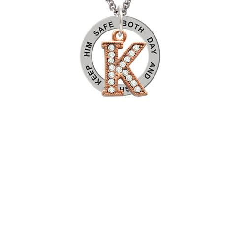Crystal Rose Gold Tone Initial - K - Keep Him Safe Affirmation Ring Necklace