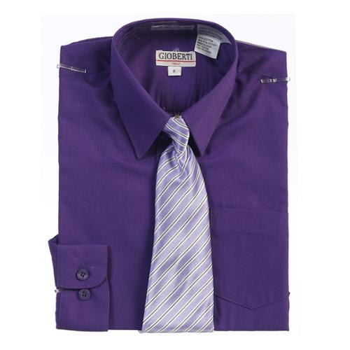 Boys Dark Purple Button Up Dress Shirt Striped Tie Set 8-18