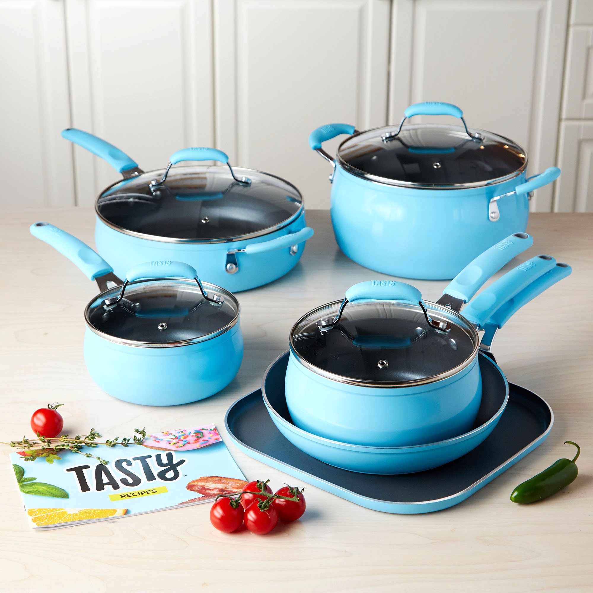 Tasty Non-Stick Diamond Reinforced Blue Cookware Set, 11 Piece