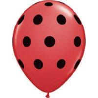 "12 ladybug print 11"" latex balloons qualatex black & red polka dot party"
