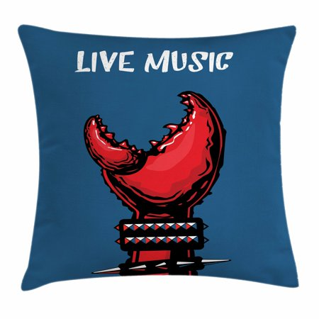 Indie Throw Pillow Cushion Cover, Crab Claw with Spiky Wristbands Heavy Metal Rock Live Music Theme Inscription Art, Decorative Square Accent Pillow Case, 16 X 16 Inches, Blue Red Black, by Ambesonne (Halloween Themed Metal Music)
