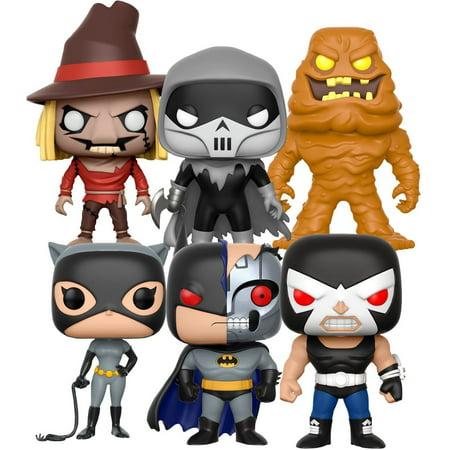 Funko PoP! Heroes Batman The Animated Series Set of 6 (Clayface, Bane, Scarecrow, Robot Batman, Phantasm, Catwoman) (Bane 90s Batman)