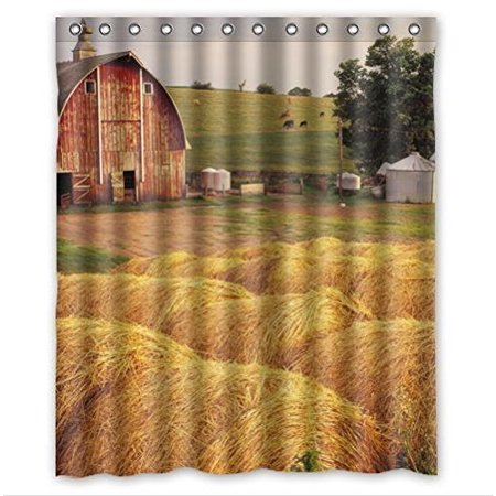 GreenDecor Iowa Hay Bales In Front The House Waterproof Shower Curtain Set with Hooks Bathroom Accessories Size 60x72 inches