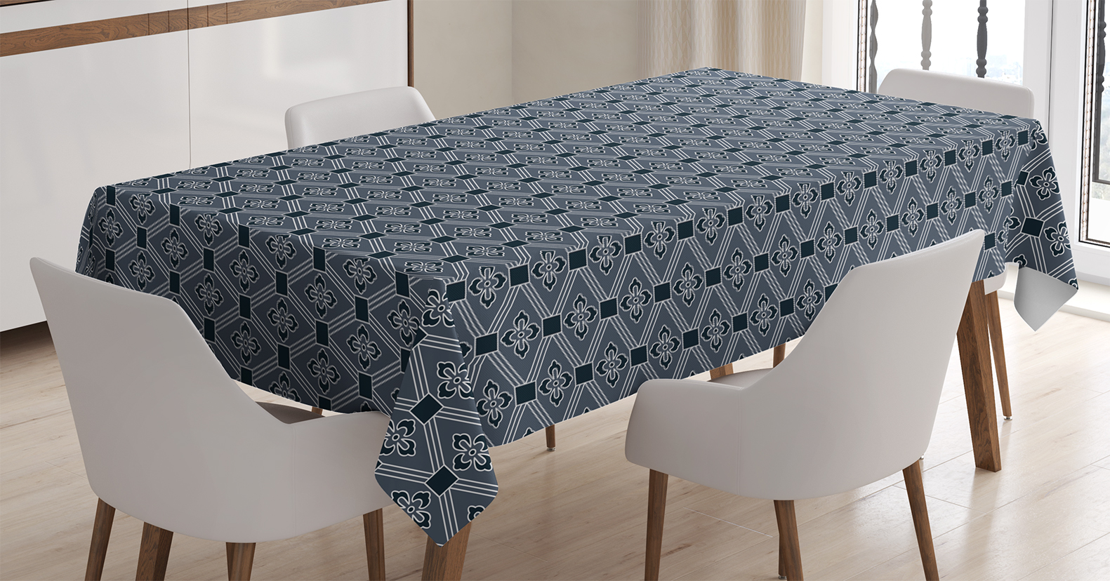 Amazing Japanese Tablecloth, Diamond Line Pattern With Squares And Abstract Graphic  Flowers, Rectangular Table Cover