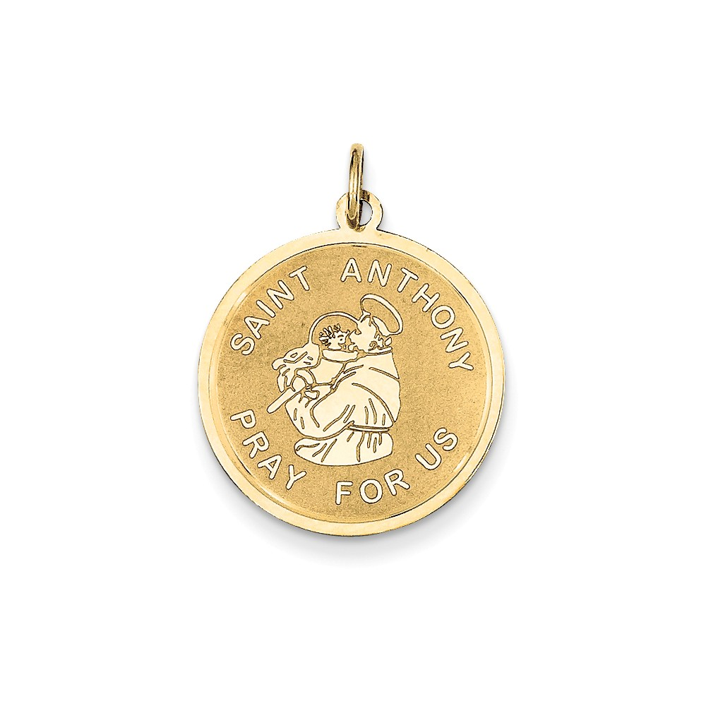 14k Yellow Gold Engravable Saint Anthony Medal Charm (1.1in long x 0.8in wide)