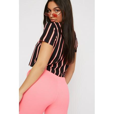 7c32610e2 Urban Planet Women's Striped Neon Soft Boxy Cropped T-Shirt - image 1 ...