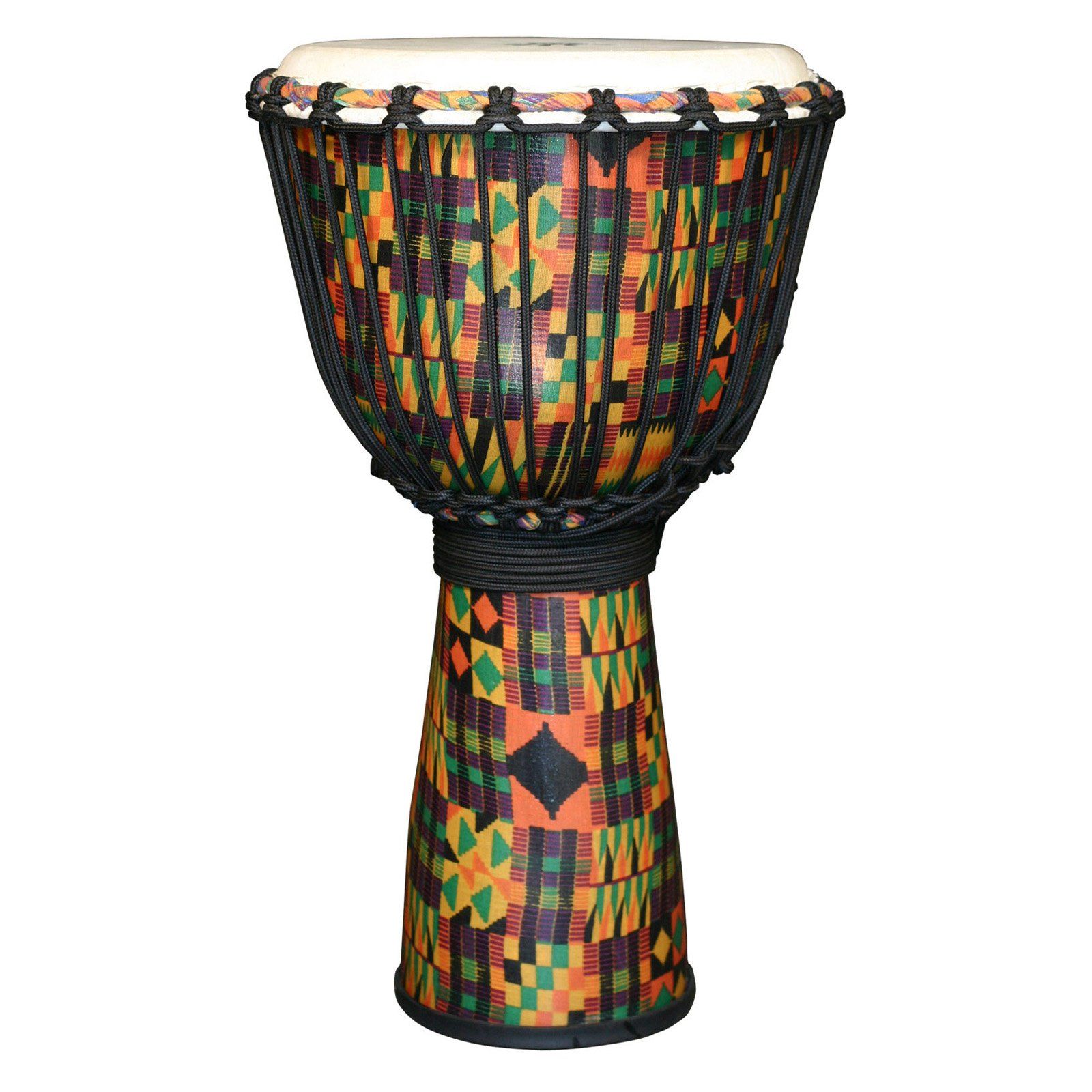 X8 Drums Kente Cloth Royal Djembe