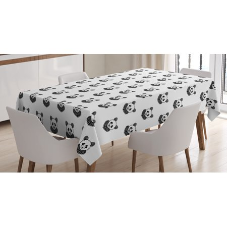 Tattoo Tablecloth, Stylized Panda Bear Portraits Cute Mascots Pattern for Children in Black and White, Rectangular Table Cover for Dining Room Kitchen, 60 X 90 Inches, Black White, by Ambesonne