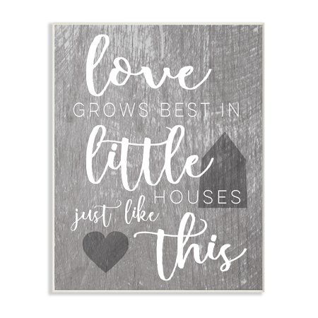 The Stupell Home Decor Collection Love Grows Best in Little Houses Wall Plaque Art, 10 x 0.5 x 15 ()