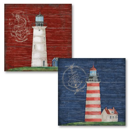 Gango Home Decor Boothbay Lighthouse Nautical Theme Red and Blue Lighthouse Coastal Wall Art by Paul Brent; Two Multi-Color 12x12in Unframed Paper Prints (Paper Only, No Frame)