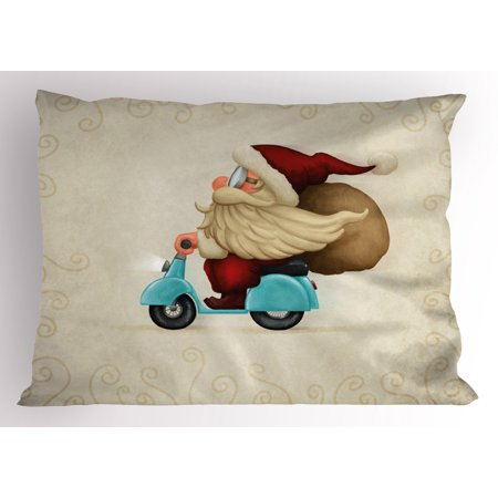 Christmas Pillow Sham Old Santa Claus Delivering Presents on His Motorcycle Swirled Lines Frame, Decorative Standard Size Printed Pillowcase, 26 X 20 Inches, Red Tan Pale Blue, by Ambesonne (Santa Claus And His Old Lady)