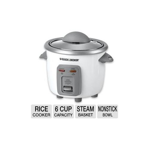 Black & Decker RC3406 Rice Cooker and Steamer - 6 Cup, Steam Basket, Removable Divider, Nonstick Cooking Bowl, Tempered