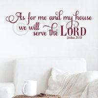 "As for Me and My House We Will Serve the Lord Joshua 24:15 Vinyl Lettering Wall Decal Sticker (12""H x 36""L, Black)"
