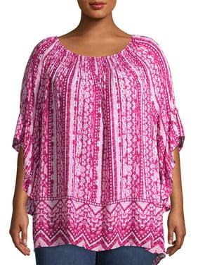 Terra & Sky Women's Plus Size Printed Ruffle Sleeve Top