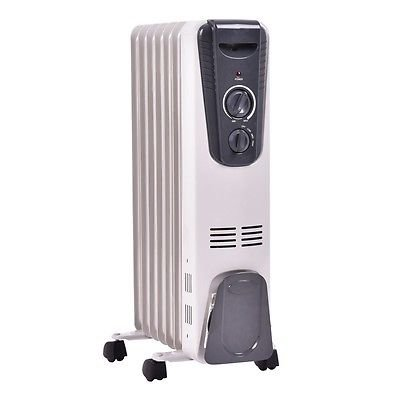 1500W Electric Oil Filled Radiator Space Heater 5.7 Fin T...