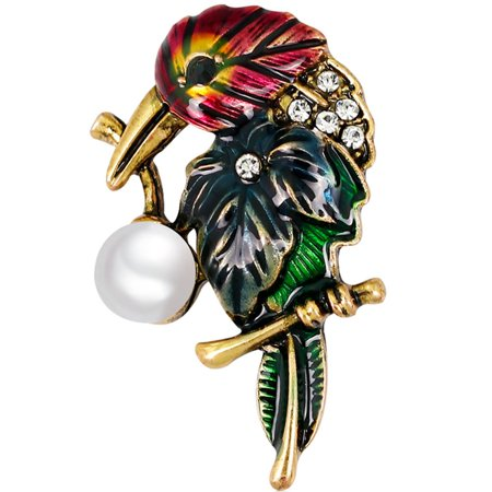 KABOER Crystal Rhinestones Parrot Animal Brooch Pins For Women High Quality Imitation Pearl Brooch