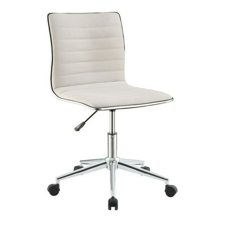 - Bowery Hill Sleek Office Chair in Cream and Chrome