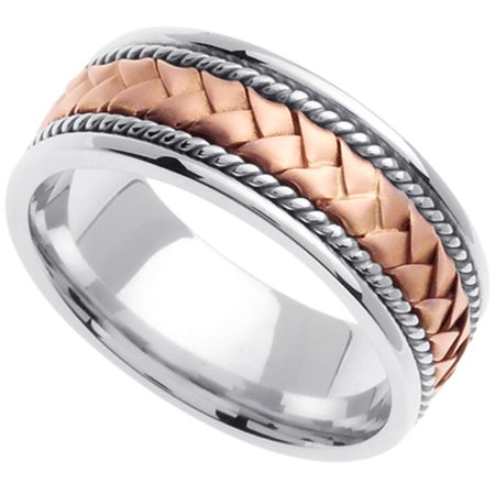 Two Tone Woven Handmade Band - Handmade Woven 14k Two-Tone Gold Band (8MM)