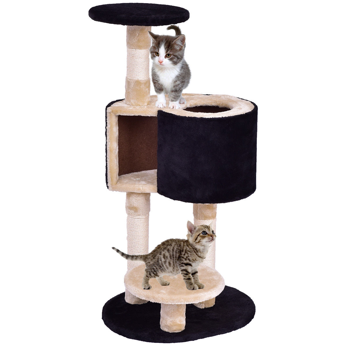 Gymax Cat Tree Kitten Activity Tower Condo Climber Pet House with Scratching Post