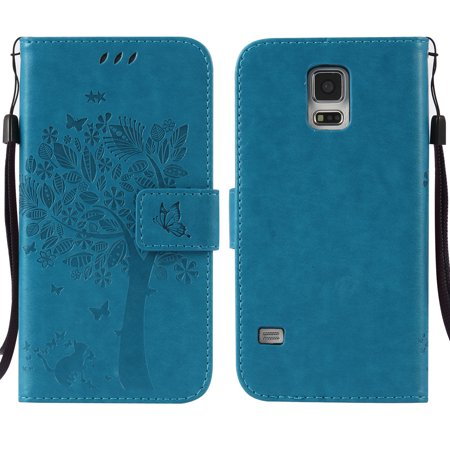Galaxy S5 V Case, Samsung Galaxy S5 Phone Cases, Allytech [Embossed Cat & Tree] PU Leather Wallet Case Folio Flip Kickstand Cover with Card Slots for Samsung Galaxy S5/ Galaxy SV/ Galaxy S V, Blue (Wallet Phone Cases For Htc One Sv)