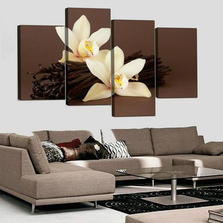 4Pcs Large Brown Orchid Floral Canvas Prints Pictures Painting Home Decor Frameless Modern Abstract Wall Art Home Office Hanging Decor Gift ()