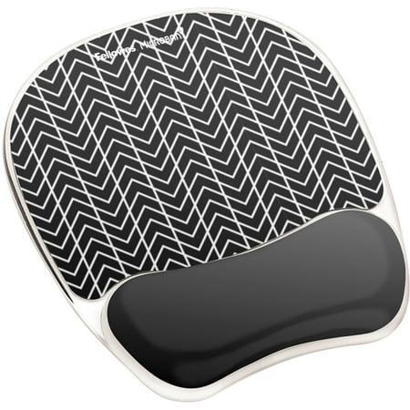Fellowes, FEL9549901, Photo Gel Mouse Pad Wrist Rest with Microban® - Black Chevron, 1,
