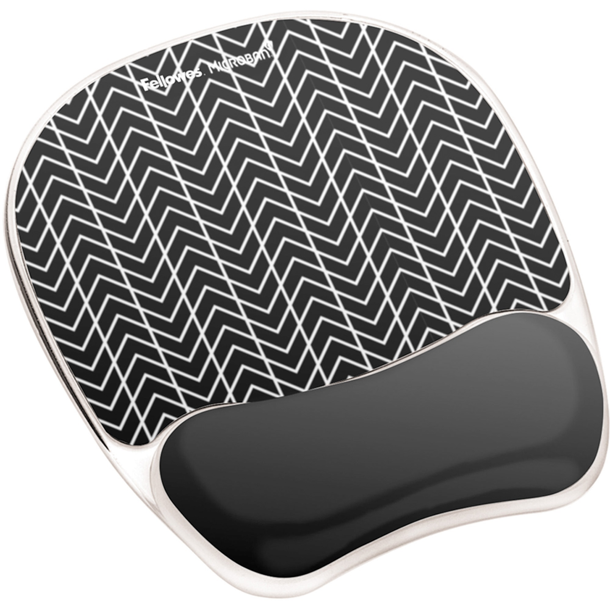 Fellowes, FEL9549901, Photo Gel Mouse Pad Wrist Rest with Microban® - Black Chevron, 1, Black,White