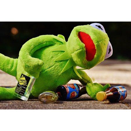 LAMINATED POSTER Drunk Alcohol Kermit Sit Frog Drink Fig ...Kermit Drinking Wine