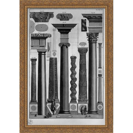 Reports and symmetries of Greek taken from ancient monuments 28x40 Large Gold Ornate Wood Framed Canvas Art by Giovanni Battista Piranesi - Greek God Attire