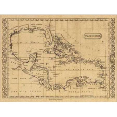 West Indies 1806 Stretched Canvas - World Map (9 x 12)