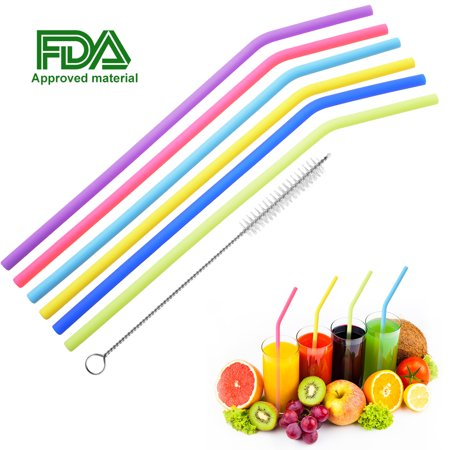 6 Pcs Reusable Drinking Straws, Uarter Food-grade Silicone Straws Colorful Drinking Straw Set with Cleaning Brush, 10