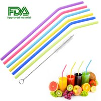 """6 Pcs Reusable Drinking Straws, Uarter Food-grade Silicone Straws Colorful Drinking Straw Set with Cleaning Brush, 10"""" Long"""