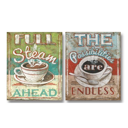 50's Diner-style Inspirational Coffee Prints; the Possibilities Are Endless & Full Steam Ahead; Two 11x14in Posters - 50's Style Home Decor