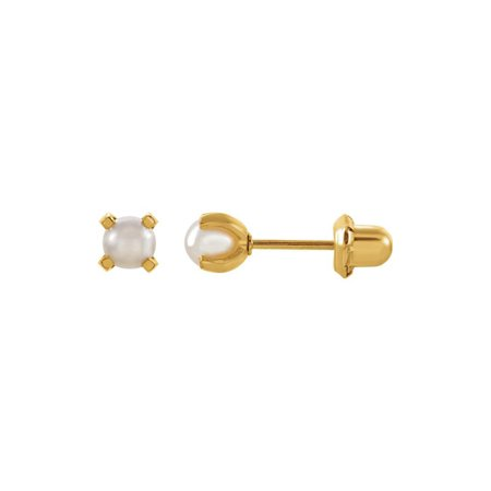 - 24K Gold-Washed Stainless Steel Imitation Pearl Piercing Earrings