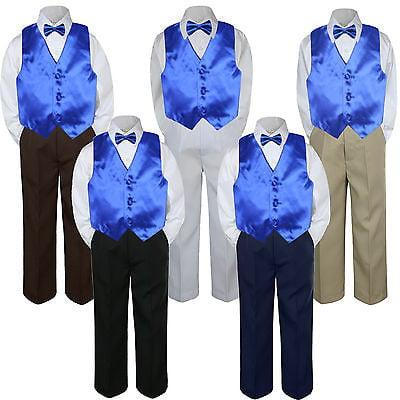 a65c9510eab 4pc Royal Blue Vest Bow Tie Suit Pants Set Baby Boy Toddler Kid Uniform S-7