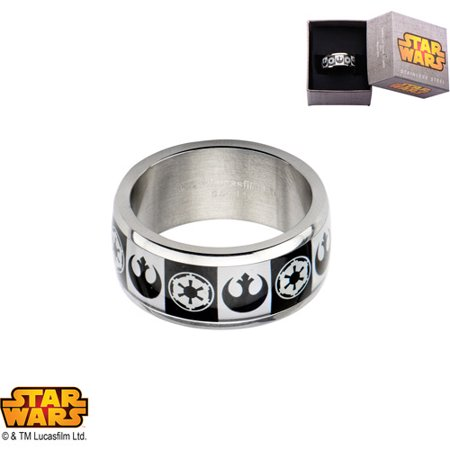 Disney Stainless Steel Star Wars Empire/Rebel Alliance Logo Ring
