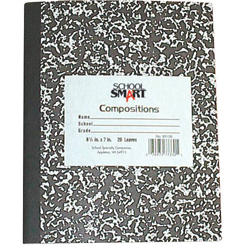 "School Smart Marbleback Composition Book with Flexible Cover, 9.75"" x 7.5"", 60 Sheets"