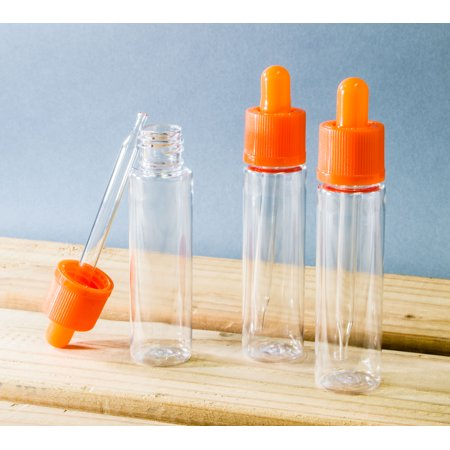 10 Pack of 30mL Clear Plastic Dropper Bottles with Orange Tops Plastic Dropper Bottles