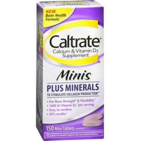 Caltrate Calcium & Vitamin D3 Supplement Plus Minerals Mini Tablets, 150 (Best Calcium Plus Vitamin D Supplement)