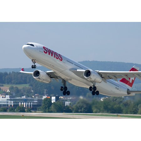 Airbus A330 Jet (LAMINATED POSTER Airbus A330 Jet Airport Zurich Swiss Airlines Poster Print 24 x 36 )