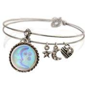 Sweet Romance  Aurora Glass Blue Moon and Stars Bangle Bracelet