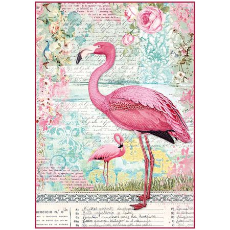 - Pink Flamingo - Stamperia Rice Paper Sheet A4