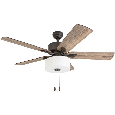 Prominence Home 50568-35 Snowden Farmhouse 52-Inch Aged Bronze Indoor Ceiling Fan, LED White Linen Fabric Shade, Barnwood/Tumbleweed