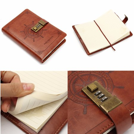 Vintage Brown B6 Rudder Leather Diary Notebook With Password Code Combination Lock 112 sheets Students Office Private Notebook