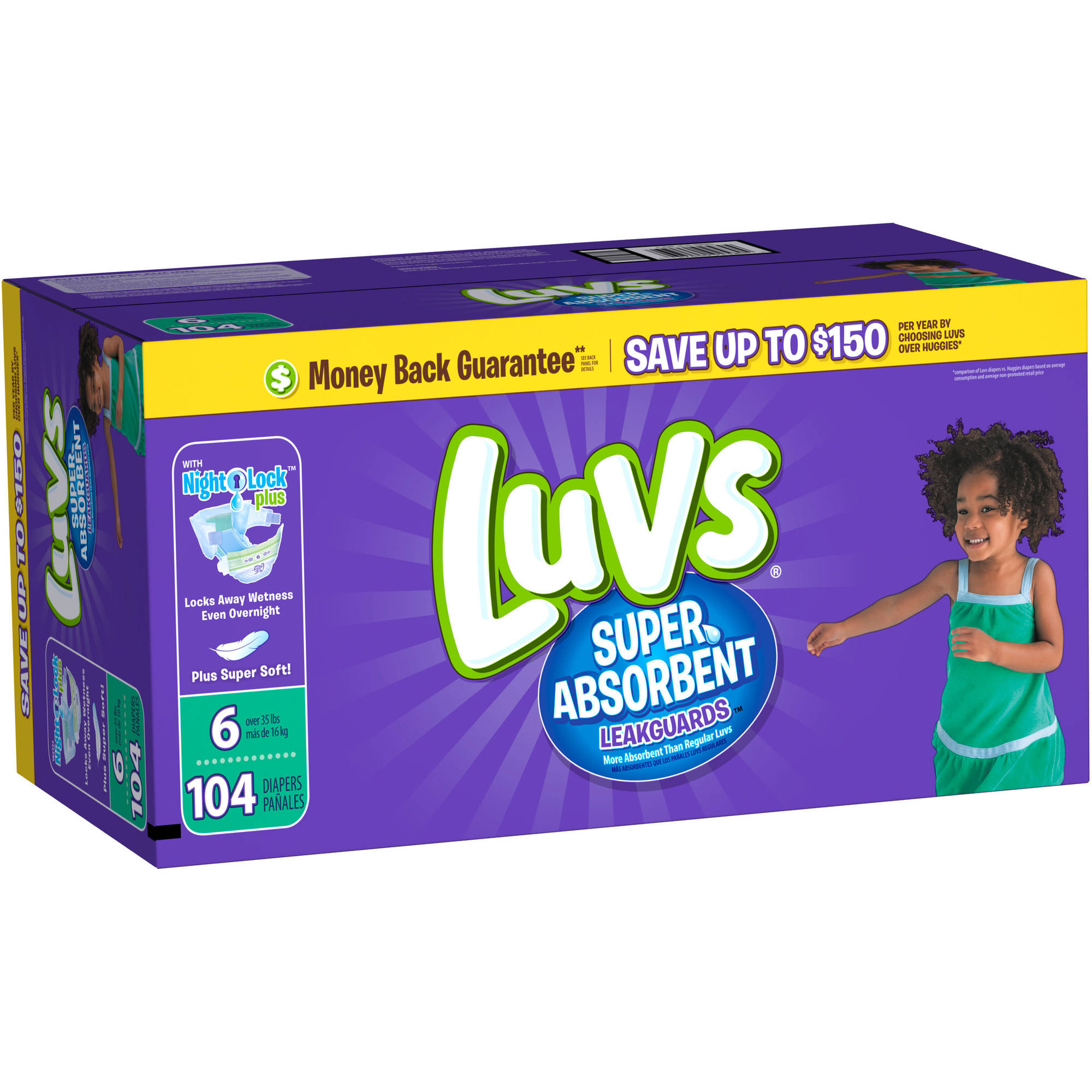 Luvs Super Absorbent Leakguards Diapers, Size 6 (Choose Diaper Count)